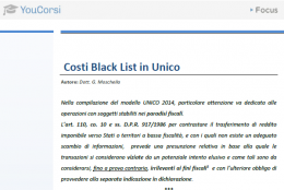 Costi Black List in dichiarazione dei redditi