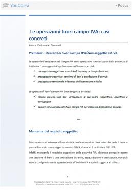 Le operazioni fuori campo IVA: casi concreti