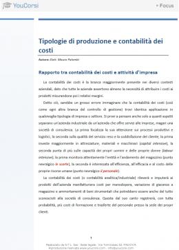 Tipologie di produzione e contabilità dei costi