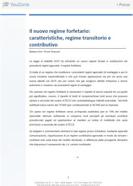 Il nuovo regime forfetario: caratteristiche, regime transitorio e contributivo