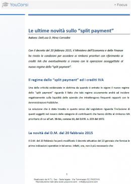 """Le ultime novità sullo """"split payment"""""""
