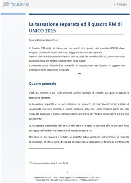 La tassazione separata ed il quadro RM di UNICO 2015
