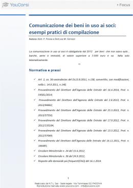 Comunicazione dei beni in uso ai soci: esempi pratici di compilazione