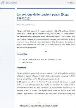 La revisione delle sanzioni penali (D.Lgs 158/2015)